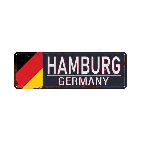 Vintage tin metal sign. Hamburg city vintage poster vector. Vintage tin sign with German city. Hamburg. Retro souvenirs or postcard templates on rust background.