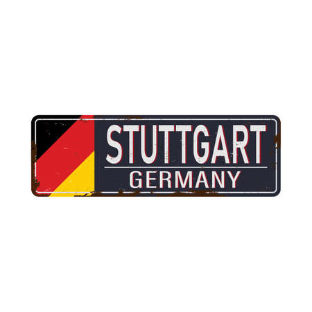 Stuttgart road sign with german flag isolated on white background. 向量圖像