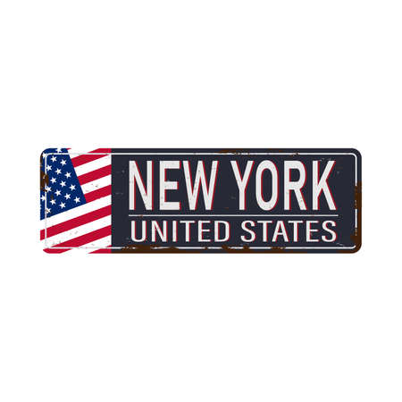 New York City vintage rusty metal sign on a white background, vector illustration
