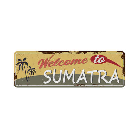 sumatra badge rusted metal road sign indonesia label theme 版權商用圖片 - 136314495