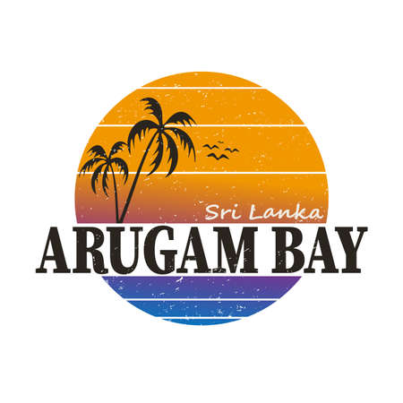 Surfing T-shirt graphics - fashion text design vector. Location: Arugam Bay, Sri Lanka. 向量圖像
