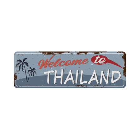 old grunge metal nameplates with Thailand and welcome text 向量圖像