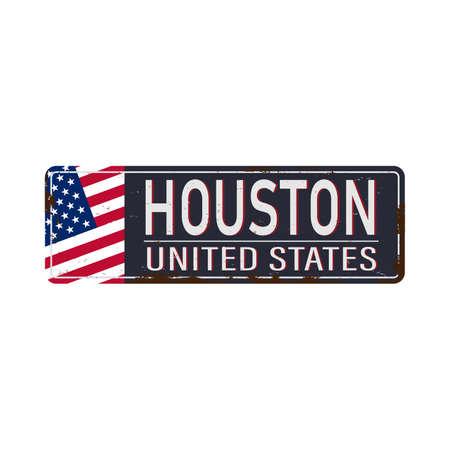 Texas houston - Vector illustration - vintage rusty metal sign 版權商用圖片 - 136314501