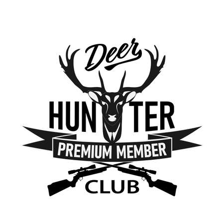 Deer hunt retro badge t-shirt design print logo 向量圖像