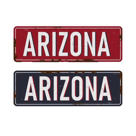 Vintage metal sign Arizona USA. Travel souvenirs on grunge damaged background. 版權商用圖片 - 136888378