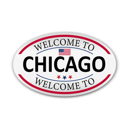 Badge, label or stamp with Chicago, vector illustration