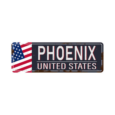 metal sign Phoenix Arizona USA city. Travel souvenirs on grunge damaged background.