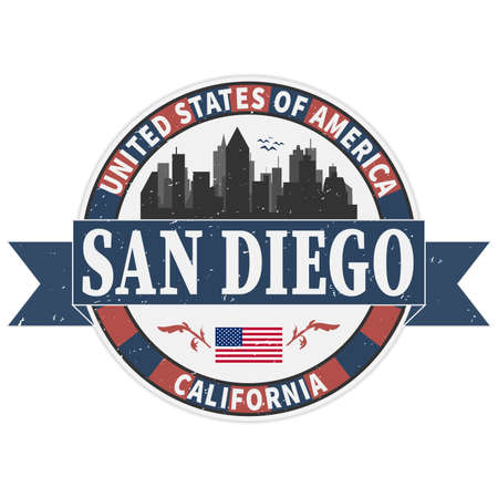 San Diego skyline. City silhouette badge stamp