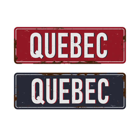 Quebec Canada rusty old enamel sign on white background. 向量圖像