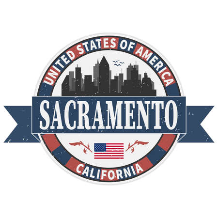 Grunge rubber stamp with name of California, Sacramento, vector illustration