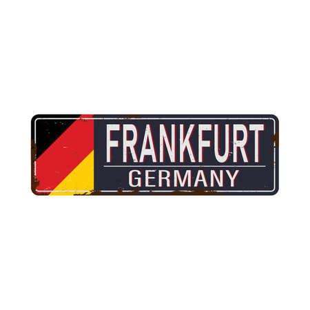 Vintage tin sign. Frankfurt city vintage poster vector. Vintage tin sign with Germany city. Frankfurt. Retro souvenirs or postcard templates on rust background. 版權商用圖片 - 136889542