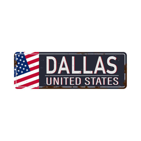 Vintage tin sign. Dallas. Retro souvenirs or old postcard templates on rust background.