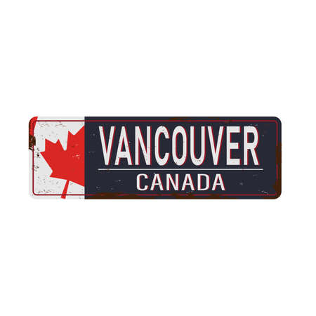 Vancouver Canada rusty old enamel sign on white background. 版權商用圖片 - 136489941