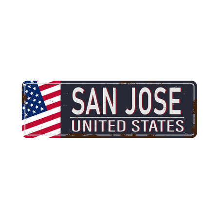 San Jose Vintage tin sign with Retro souvenirs or postcard templates on rust background. Vintage old paper.