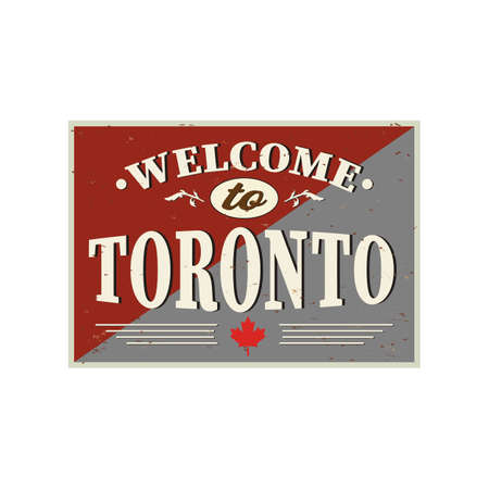 Vintage Touristic Welcome Card - Toronto, Canada, vector illustration 向量圖像
