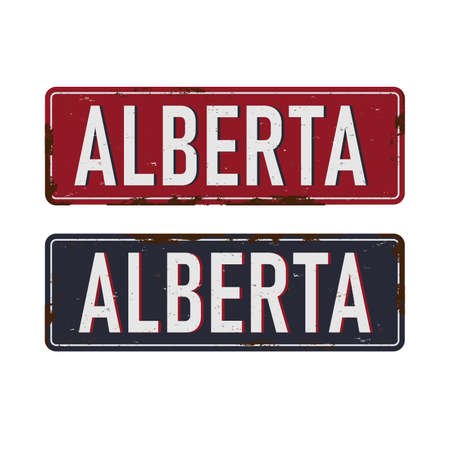 Alberta. rusted metal sign of Canadas province for tourist sign