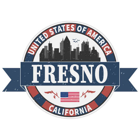 Fresno California USA Round Stamp Icon Skyline City Design 向量圖像