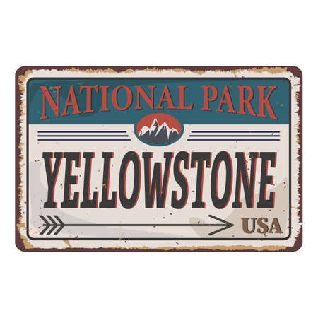 grunge metal sign with the name of Yellowstone National Park from United States of America 向量圖像