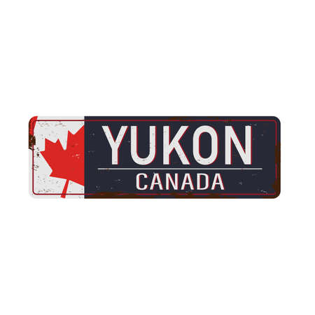 Yukon Canada rusty old enamel sign on white background.