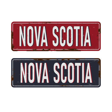 Nova Scotia. rusted metal sign of Canadas province for tourist sign