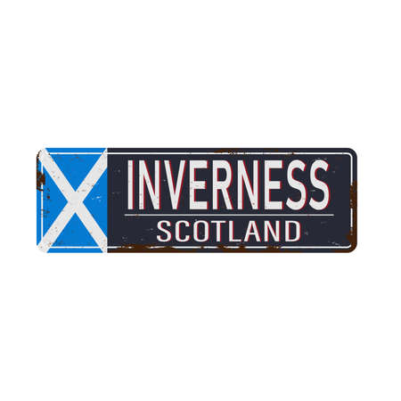 Inverness , United Kingdom , road sign vector illustration, road table Ilustrace