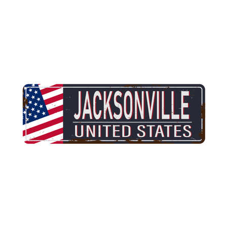 Jacksonville vintage rusty metal sign on a white background, vector illustration