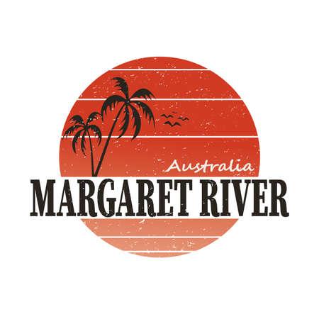 Margaret River, Australia, vector illustration logo t-shirt design