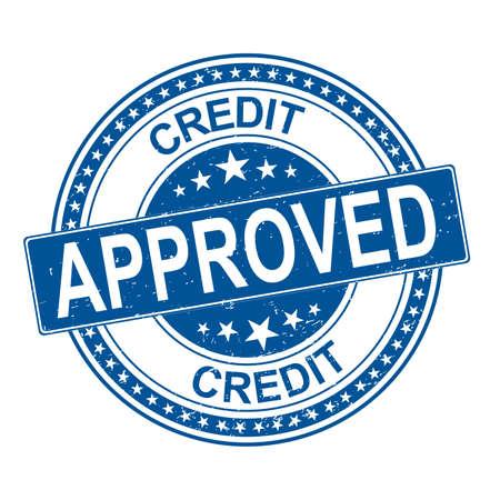 Timbro di gomma del grunge di approvazione del credito su sfondo bianco, illustrazione vettoriale