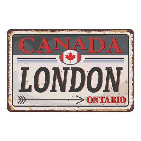London, Ontario, Canada maple leaves metal road sign 일러스트