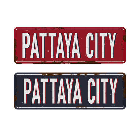 Pattaya. Road sign. Vector illustration. on a white background