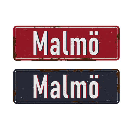 Vintage vector souvenir sign MALMO Sweden. Travel theme. Places to visit and remember.
