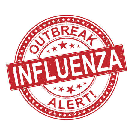 circle rubber stamp with the text outbreak alert influenza. influenza rubber stamp, label, badge, logo,seal