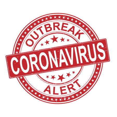 Coronavirus stamp with frame. Red vector round grunge stamp imprint with Coronavirus text. Useful for watermarks with corroded rubber surface.