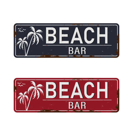Beach bar vintage rusty metal sign on a white background, vector illustration.