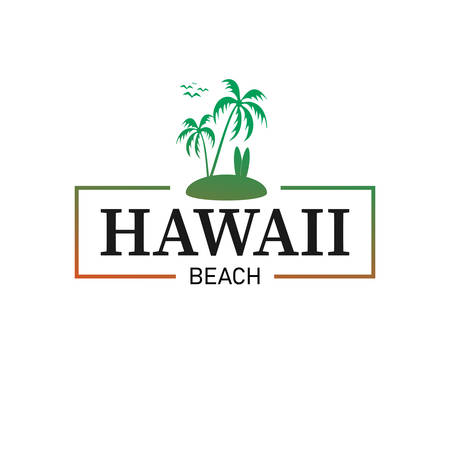 Vector illustration on the theme in Hawaii beach., t-shirt graphics, poster, print, banner, flyer