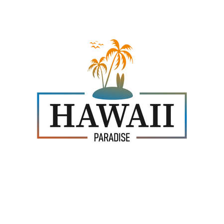 Aloha Hawaii Paradise Creative Summer Beach Tropical Vector Design Element