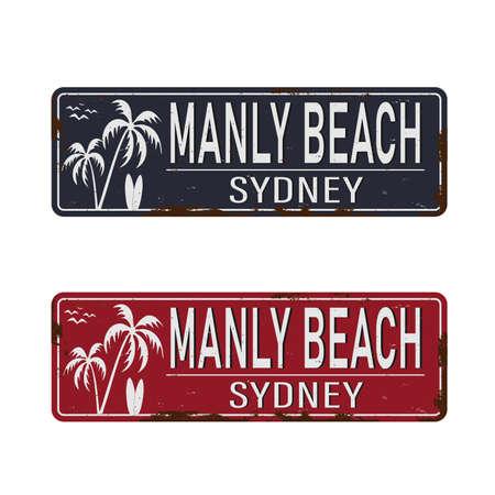 Manly Beach Sydney Australia tin rusty web sign