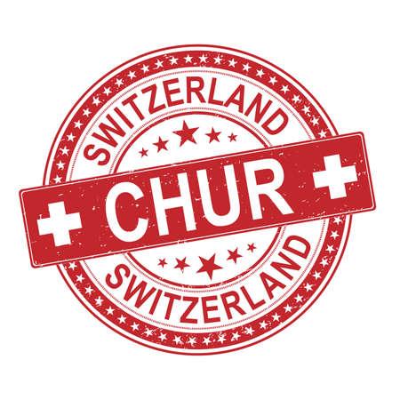 Chur, Switzerland, stamp vector illustration, on a white background