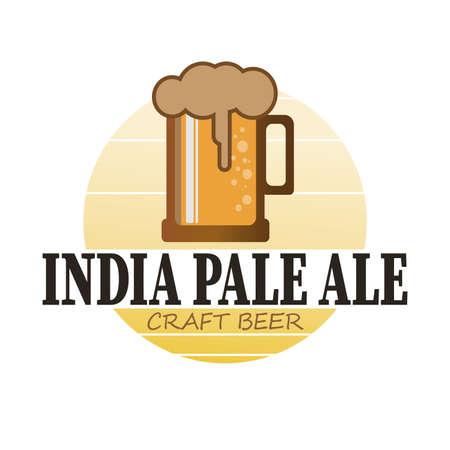 India Pale Ale Beer logo. Silhouette Drink. Round Vector Icon. Vintage Beverages Design. Ilustração