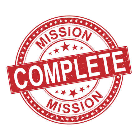 Mission complete grunge rubber stamp on white, vector illustration Ilustração