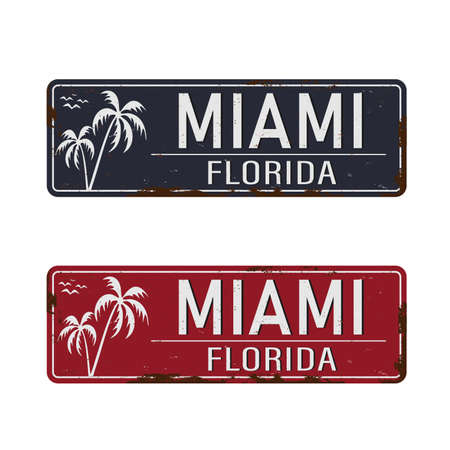 Miami vintage rusty metal sign on a white background, vector illustration
