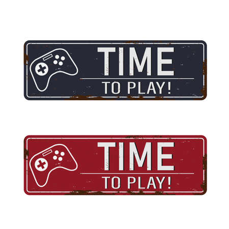Time to play vintage rusty metal sign on a white background, vector illustration