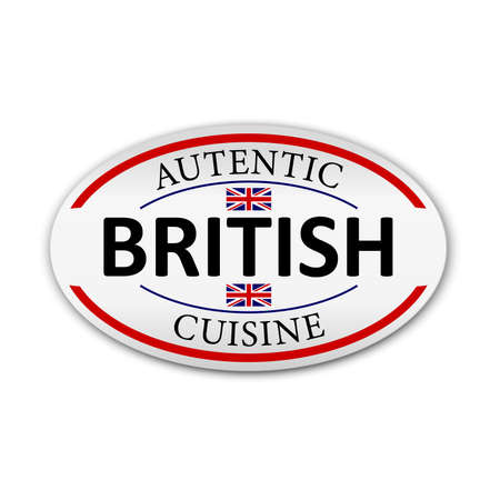 British cuisine label on white background, vector illustration