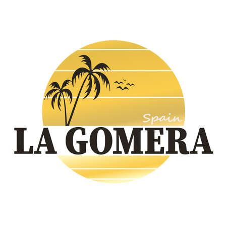 Cartel vintage de La Gomera. Etiqueta, insignia o elemento hecho a mano de estilo retro para recuerdos de viaje