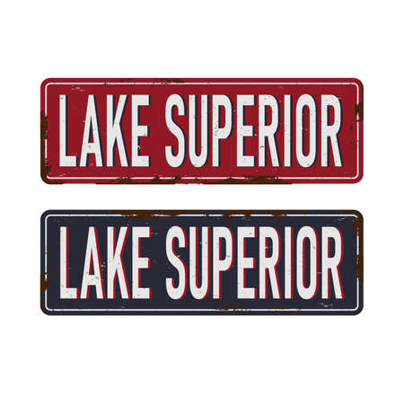 Vintage METAL SIGN Lake Superior Great Stamp