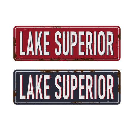 Vintage METAL SIGN Lake Superior Great Stamp Vektorové ilustrace