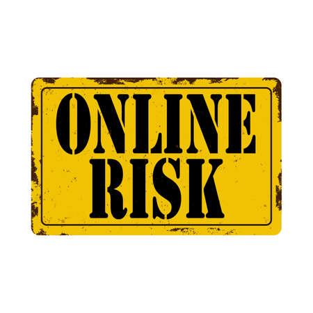 Online Risk warning sign illustration on a white background