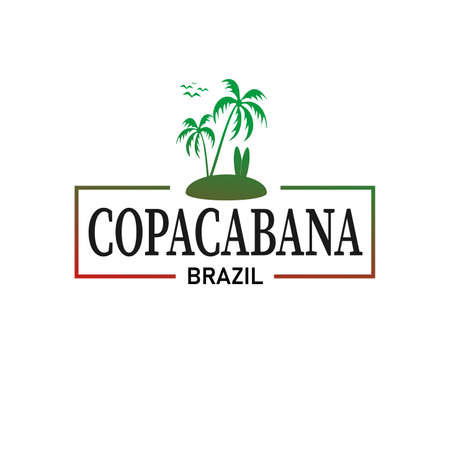 Copacabana Brazil logo frame t-shirt design background Ilustracja