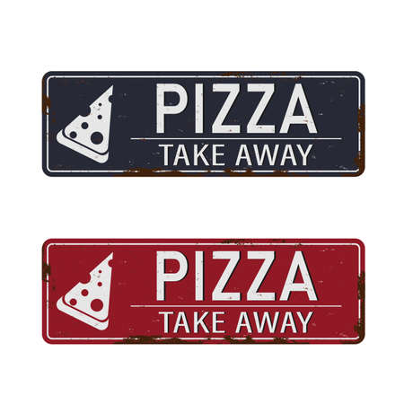 Pizza Fast Food Express Delivery Take Away metal sign Vector Art Vetores