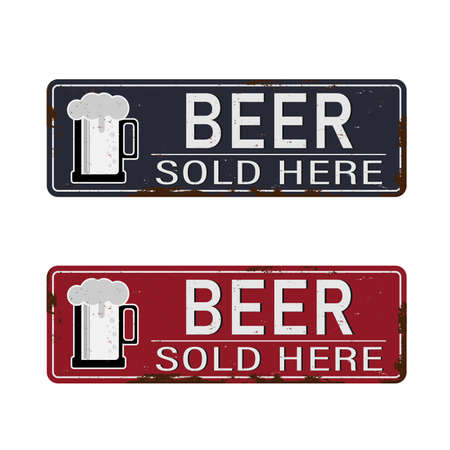 Vintage metal sign - Beer Sold Here - Vector EPS10. Grunge and rusty effects can be easily removed for a cleaner look. Illustration